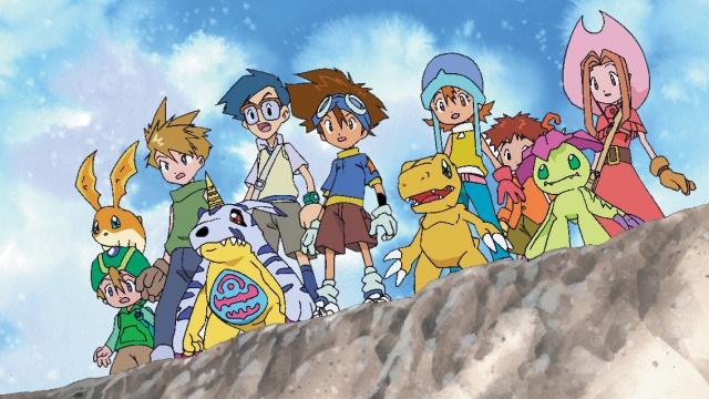 Digimon: Digital Monsters characters. From left to right, TK, Matt, Joe, Tai, Sora, Izzy, Mimi